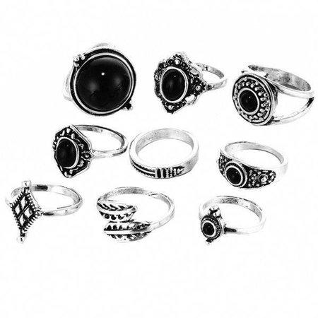 Sterling Silver Black Onyx Stone Ring Set