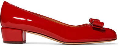 Vara Bow-embellished Patent-leather Pumps - Red