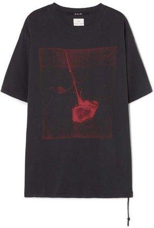 Opposite Of Opposite Oversized Printed Cotton T-shirt - Black