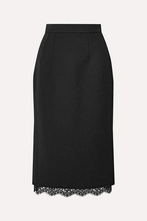 Lace-trimmed Cady Skirt - Black