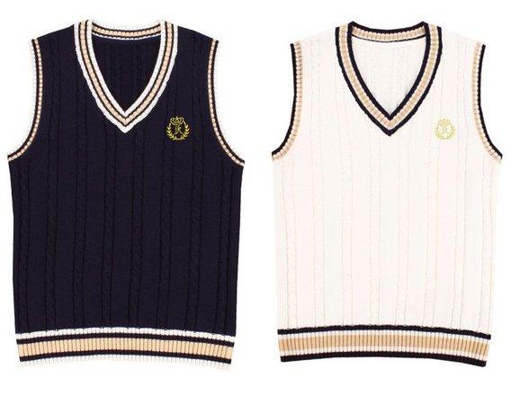 Korean School Uniform Sweater Vests Polyvore / SSENSE