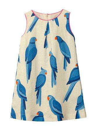 Amazon.com: Kids Girl Sundress Summer Sleeveless Casual Blue Bird Flared Tank Shirt Dress White Jumper Skirt: Clothing