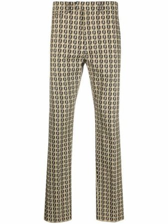 Shop Fendi FF-print mid-rise trousers with Express Delivery - FARFETCH