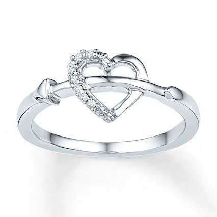 Midi Heart Ring Diamond Accents Sterling Silver - 2366520999 - Kay