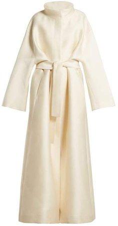 Sarlie High Neck Silk Coat - Womens - Beige