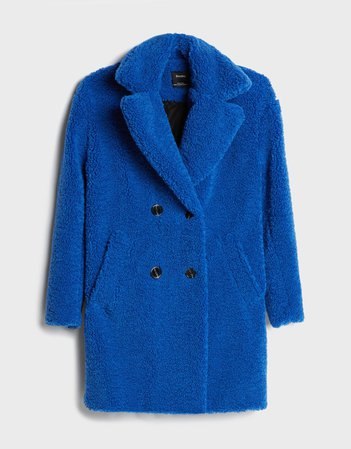 Double-breasted faux shearling coat - Outerwear - Woman | Bershka