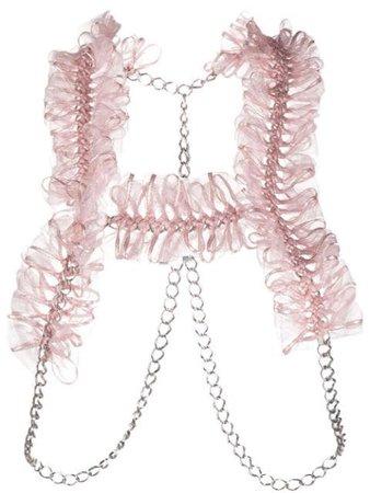 Comme Des Garçons Noir Kei Ninomiya ruffled chain-link harness pink 3GV006051 - Farfetch