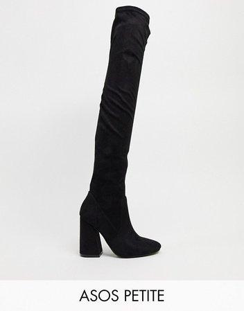 ASOS DESIGN Petite Keeper heeled thigh high boots in black | ASOS