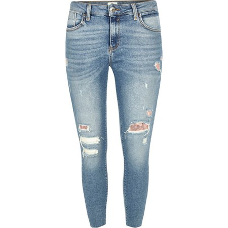 Petite mid blue Amelie ripped chainmail jeans - Skinny Jeans - Jeans - women