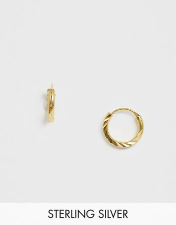 ASOS DESIGN sterling silver with gold plate hoop earrings with twisted detail | ASOS