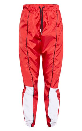 Red Contrast Shell Jogger | PrettyLittleThing USA