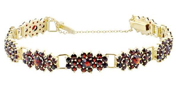 Antique Style Bohemian Garnet Cluster Link Victorian Bracelet - Gold Vermeil Sterling Silver - Antique Jewelry Mall