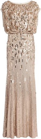 Jenny Packham Embroidered Sequined Maxi Dress