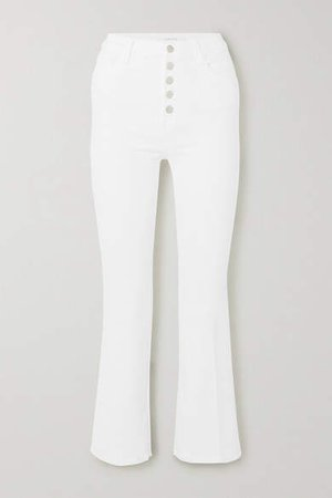 Lillie High-rise Cropped Bootcut Jeans - White