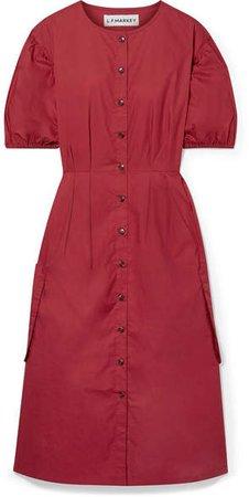 L.F.Markey - Oliver Pleated Cotton-poplin Midi Dress - Claret