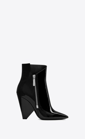 Saint Laurent ‎NIKI Wedge Booties In Patent Leather ‎ | YSL.com
