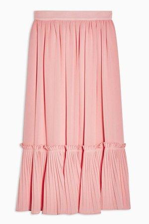 Plain Pink Pleated Hem Midi Skirt | Topshop