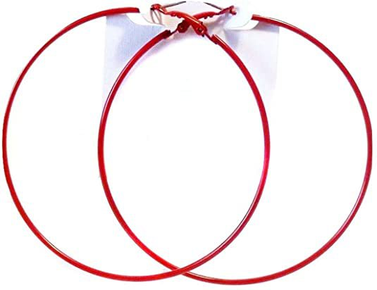 Amazon.com: Red Hoop Earrings Thin Hoop Earrings Red Hoops 3 Inch: Jewelry