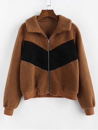 [37% OFF] [POPULAR] 2019 ZAFUL Colorblock Zipper Teddy Coat In LIGHT BROWN | ZAFUL brown