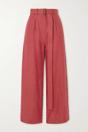 Claret Belted linen wide-leg pants | BONDI BORN | NET-A-PORTER