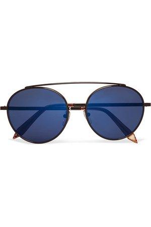 Victoria Beckham | Round-frame metal mirrored sunglasses | NET-A-PORTER.COM