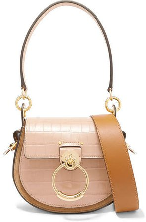 Tess Small Croc-effect Leather And Suede Shoulder Bag - Beige