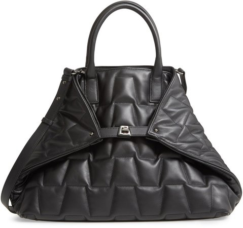 Medium AI Quilted Trapezoid Leather Tote