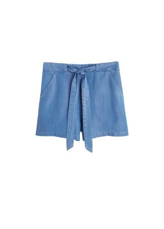 MANGO Bowed denim short