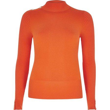 Orange long sleeve high neck rib knitted top | Fashmates.com