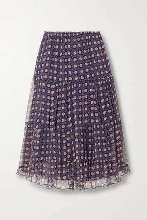 Tiered Printed Silk-chiffon Midi Skirt - Blue