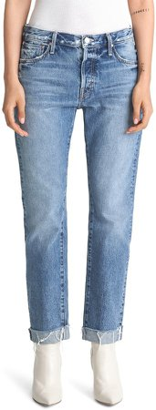 The Scrapper High Waist Frayed Cuff Ankle Jeans