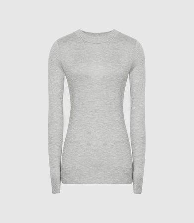 Aurellie Grey Marl Semi-Sheer Slim-Fit Top – REISS