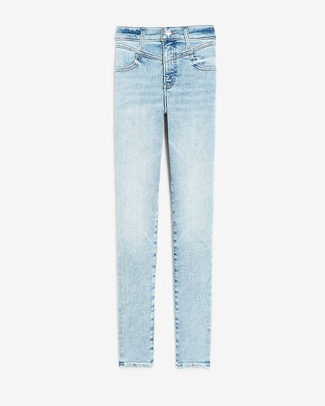 Mid Rise Light Wash Seamed Skinny Jeans