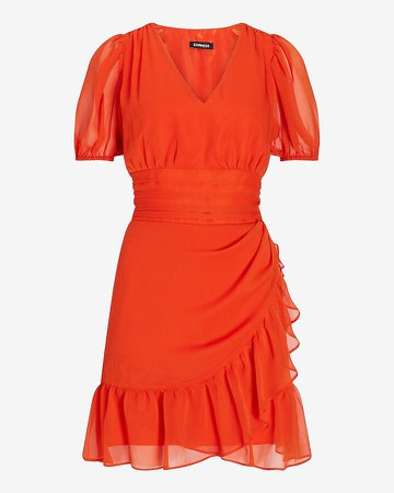 Ruffle Wrap Puff Sleeve Dress
