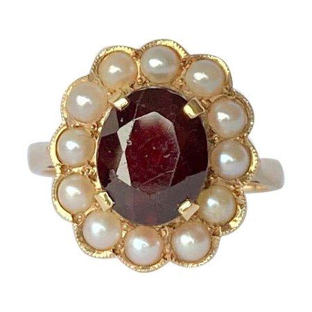Vintage Garnet and Pearl 9 Carat Gold Cluster Ring For Sale at 1stDibs