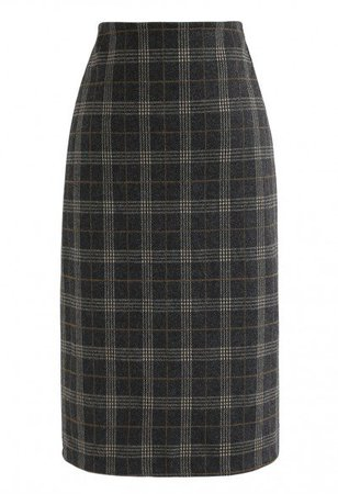 Plaid Button Split Pencil Midi Skirt in Grey - Skirt - BOTTOMS - Retro, Indie and Unique Fashion