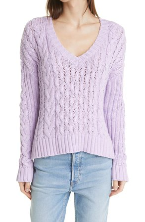 Leah V-Neck Cable Knit Sweater | Nordstrom