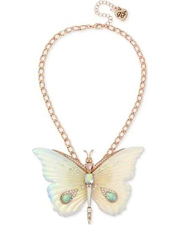 Betsey Johnson Large Butterfly Pendant Necklace, White, One Size: Clothing