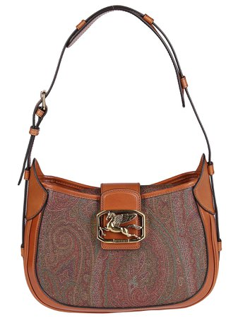 Brown Leather And Cotton Pegaso Shoulder Bag