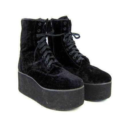 90s black PLATFORM shoes. Lace up black chunky GOTH boots. Grunge punk...