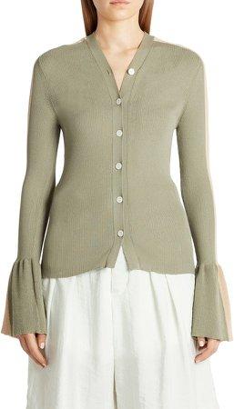 x 2 Moncler 1952 Flare Cuff Rib Cotton Blend Cardigan