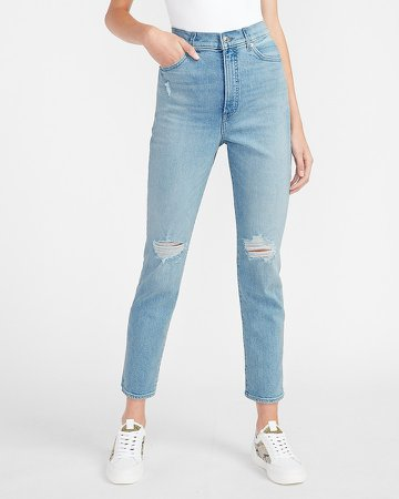 Super High Waisted Ripped Slim Jeans