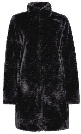 Black Longline Faux Fur Coat