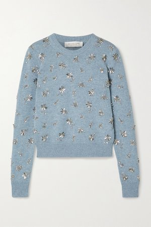 sky blue embellished cashmere sweater | MichaeKors Collectionl  |