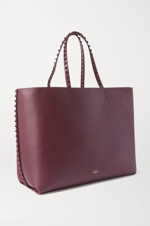 Burgundy Valentino Garavani Rockstud suede and leather tote | Valentino | NET-A-PORTER