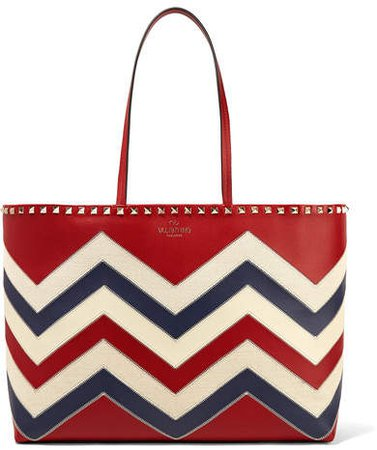 Garavani The Rockstud Canvas-trimmed Leather Tote - Red