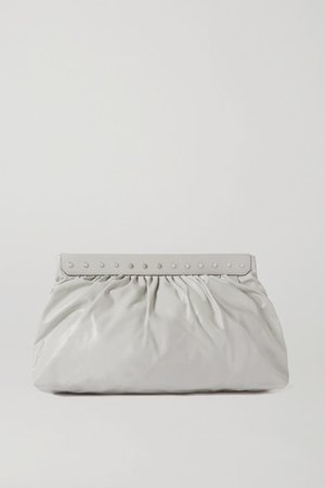 Luzel Large Studded Leather Clutch - Off-white