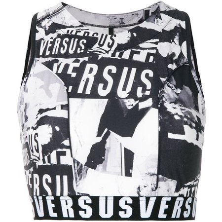 black and white verses crop tank top
