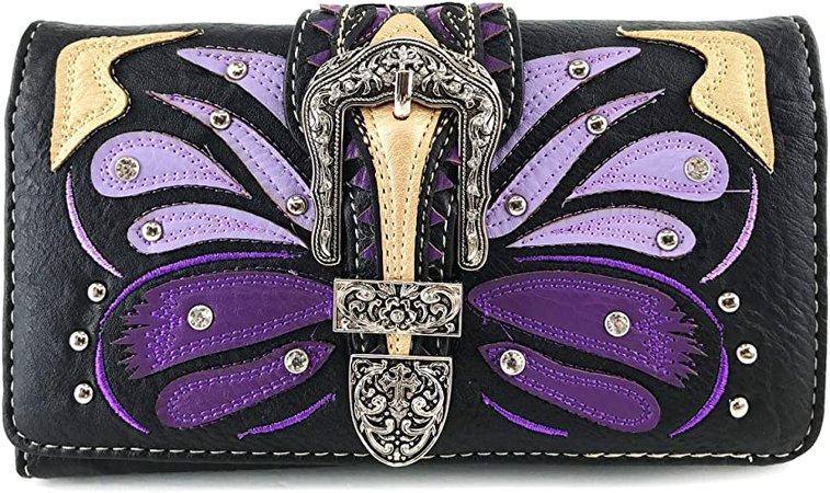 Zelris Buckle Abstract Butterfly Artwork Women Crossbody Wrist Trifold Wallet (Purple)
