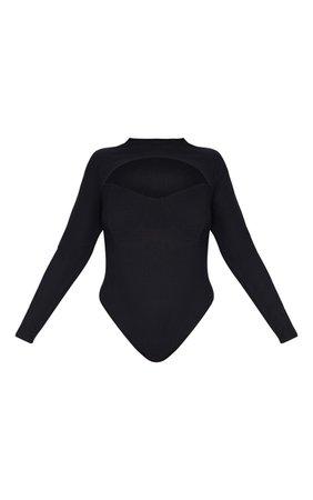 Plus Black Cut Out Detail Bodysuit   PrettyLittleThing USA